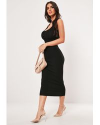 Missguided Black Popper Ribbed Knitted Midaxi Dress
