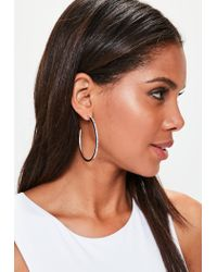 Missguided | Metallic Silver Diamante Hoop Earrings | Lyst
