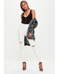 Missguided - Black Hood And Eye Sleeveless Bodysuit - Lyst