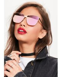 Missguided Pink Rose Gold Cat Eye Frame Sunglasses