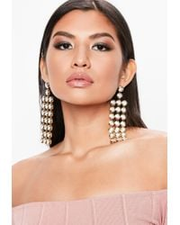 Missguided - Metallic Silver Crystal Rectangle Drop Earrings - Lyst