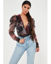Missguided Brown Floral Print Puff Sleeve Bodysuit