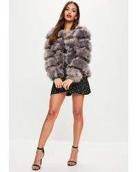 Missguided - Gray Grey Pelted Short Faux Fur Jacket - Lyst