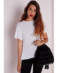Missguided - Round Neck Dip Hem T Shirt White - Lyst