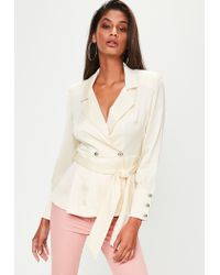 Missguided | White Extreme Shoulder Tie Waist Blazer | Lyst