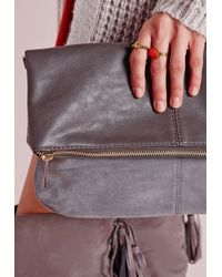 Missguided - Black Fold Over Bag Grey - Lyst