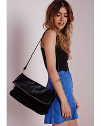 Missguided - Fold Over Bag Black - Lyst