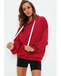 Missguided Red Oversized Puff Sleeve Hoodie
