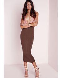 Missguided - Longline Jersey Midi Skirt Chocolate Brown - Lyst