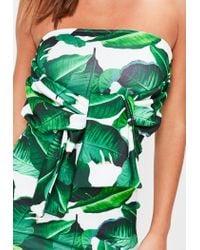 Missguided White Palm Leaf Print Bandeau Tie Front Dress
