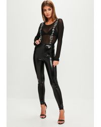Missguided - Black Mesh Embellished Bodysuit - Lyst