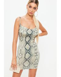 Missguided - Natural Petite Beige Snake Print Cowl Dress - Lyst