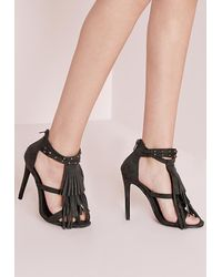 13a6e4a35fc Lyst - Missguided Tassel Front Heeled Sandals Khaki in Black