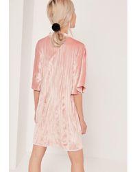 Missguided Velvet Choker Shift Dress Pink
