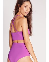 Missguided - High Square Neck Bikini Top Purple - Mix & Match - Lyst