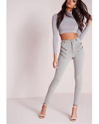 Missguided - Gray Sinner Multi Zip Skinny Jeans Grey - Lyst