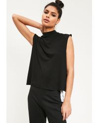 Missguided - Turtle Neck Scoop Armhole Top Black - Lyst