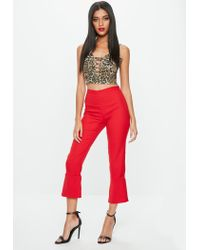 Missguided - Brown Leopard Print Lace Up Bralet - Lyst