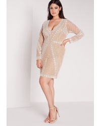 Missguided Natural Plus Size Embellished Dress Nude
