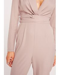 Missguided - Natural Crepe Long Sleeve Belt Detail Jumpsuit Nude - Lyst