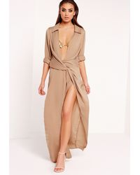 Missguided Natural Wrap Front Shirt Maxi Dress Nude