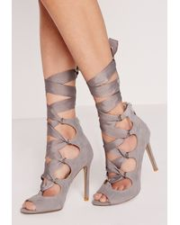 Missguided Gray Ribbon Lace Up Peep Toe Court Shoes Grey