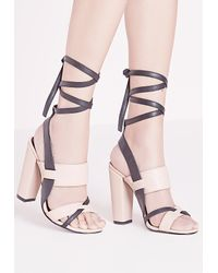 Missguided Multicolor Contrast Ankle Tie Block Heel Sandals Nude