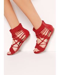 Missguided Origami Rope Flat Sandals Red