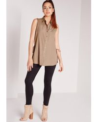 Missguided - Brown Lace Up Side Sleeveless Shirt Camel - Lyst