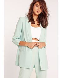 Missguided Multicolor Gathered Sleeve Tailored Blazer Suit Green