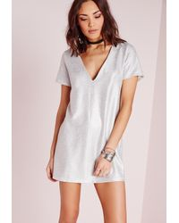 099327ea4870 Lyst - Missguided Foil Plunge Shift Dress Silver in White