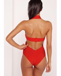 Missguided - Red Bandage Cut Out Swimsuit - Lyst