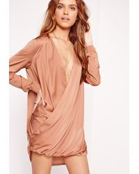 Missguided Brown Satin Wrap Over Dress Pink