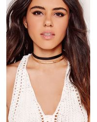Missguided Metallic Double Layer Choker Gold