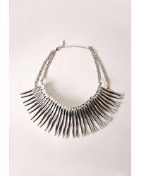 Missguided - Blue Statement Choker Silver - Lyst