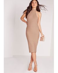 Missguided - Natural Waffle Texture Midi Dress Nude - Lyst