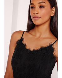 Missguided Lace Overlay Bodysuit Black