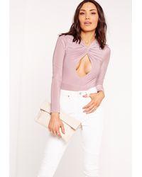 Missguided - Purple Slinky Twist Front Long Sleeve Bodysuit Lilac - Lyst