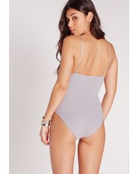 Missguided - Gray High Neck Strappy Bodysuit Grey - Lyst