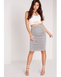 Missguided - Orange Ruched Detail Midi Skirt Grey - Lyst