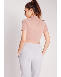 Missguided - High Neck Sheer Stripe Crop Pink - Lyst