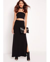 Missguided - Lace Up Jersey Maxi Skirt Black - Lyst