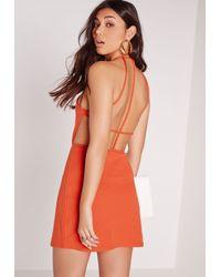 Missguided - Strappy Back Shift Dress Orange - Lyst