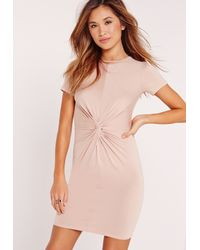 Missguided - Pink Twist Front Short Sleeve Bodycon Dress Nude - Lyst
