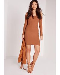 Missguided - Brown Ribbed Jersey Long Sleeve Bardot Bodycon Dress Tan - Lyst