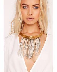 Missguided - Metallic Tassel Trim Collar Necklace - Lyst