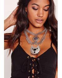 Missguided | Brown Statement Cobalt Blue Stone Necklace | Lyst