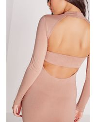 Missguided - Natural High Neck Strap Back Bodycon Dress Nude - Lyst