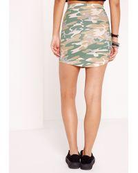 Missguided - Natural Camo Print Curve Hem Mini Skirt - Lyst