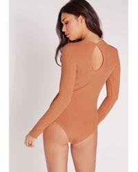 Missguided - Blue Keyhole Detail Ribbed Bodysuit Orange - Lyst